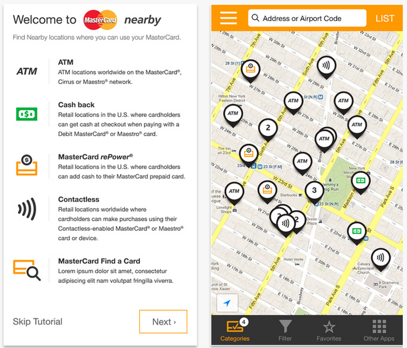 Find an Apple Pay experience with MasterCard Nearby