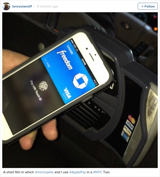 Apple Pay experience inside a New York Taxi, thanks to @laneceulanoff on Instagram