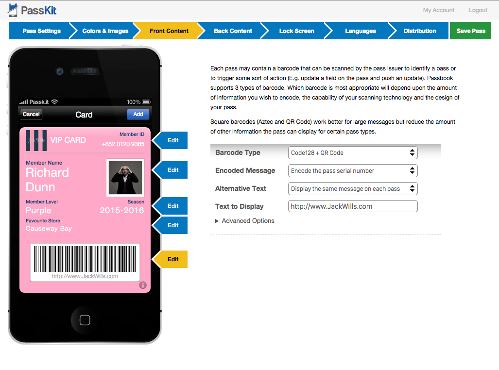 What barcode types are supported for Apple Wallet ...