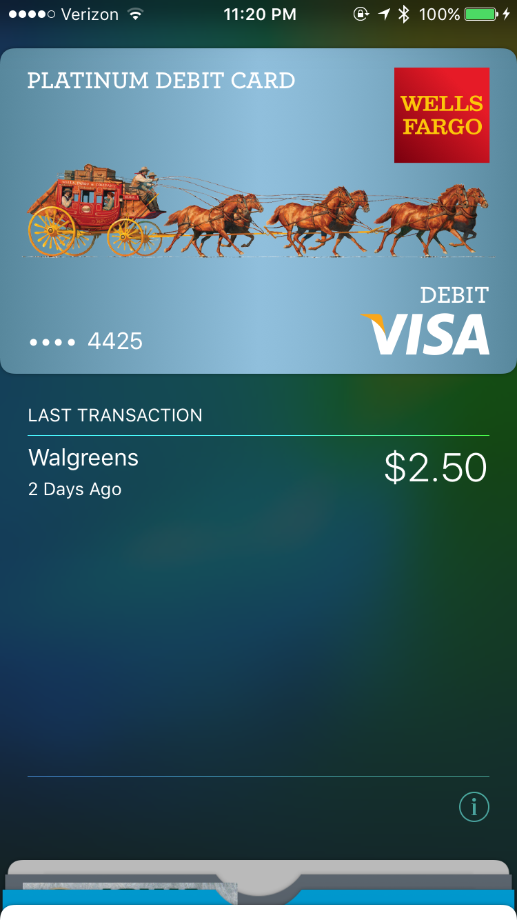 Apple Pay shows your last transaction right underneath each card.