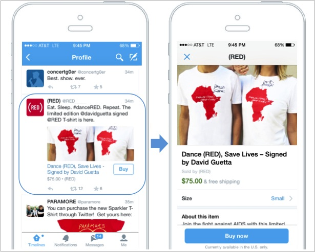 Here is an example of a buy button on Twitter.