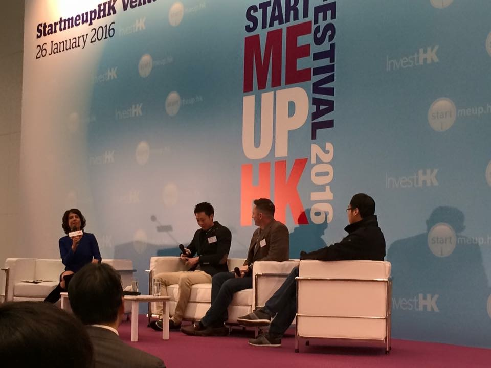 Paul Tomes on stage at the StartMeUpHK Festival
