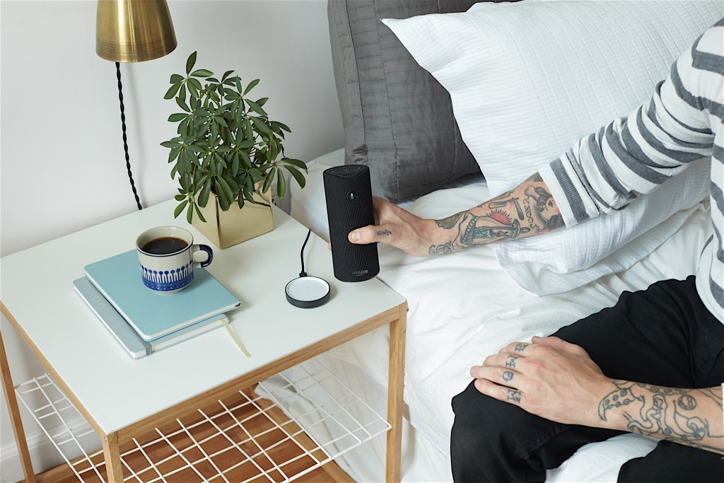This is the Amazon Tap seen with the charging cradle that's included. -Tech Trends