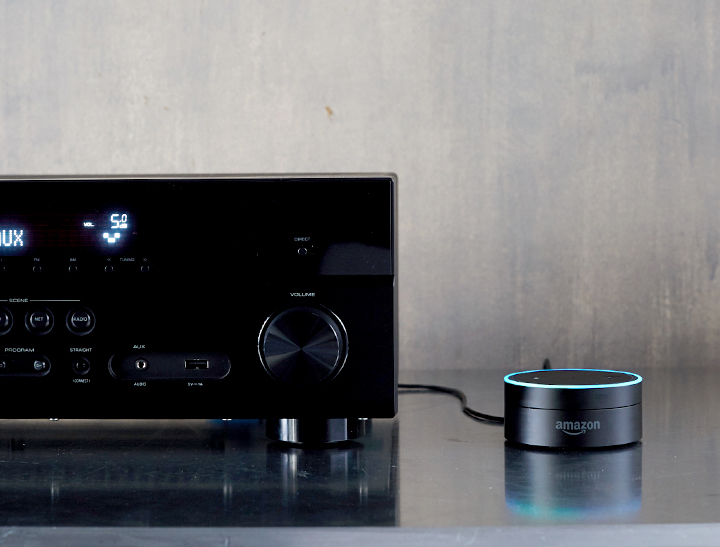 This is the Echo Dot seen plugged into a regular old stereo.-Tech Trends