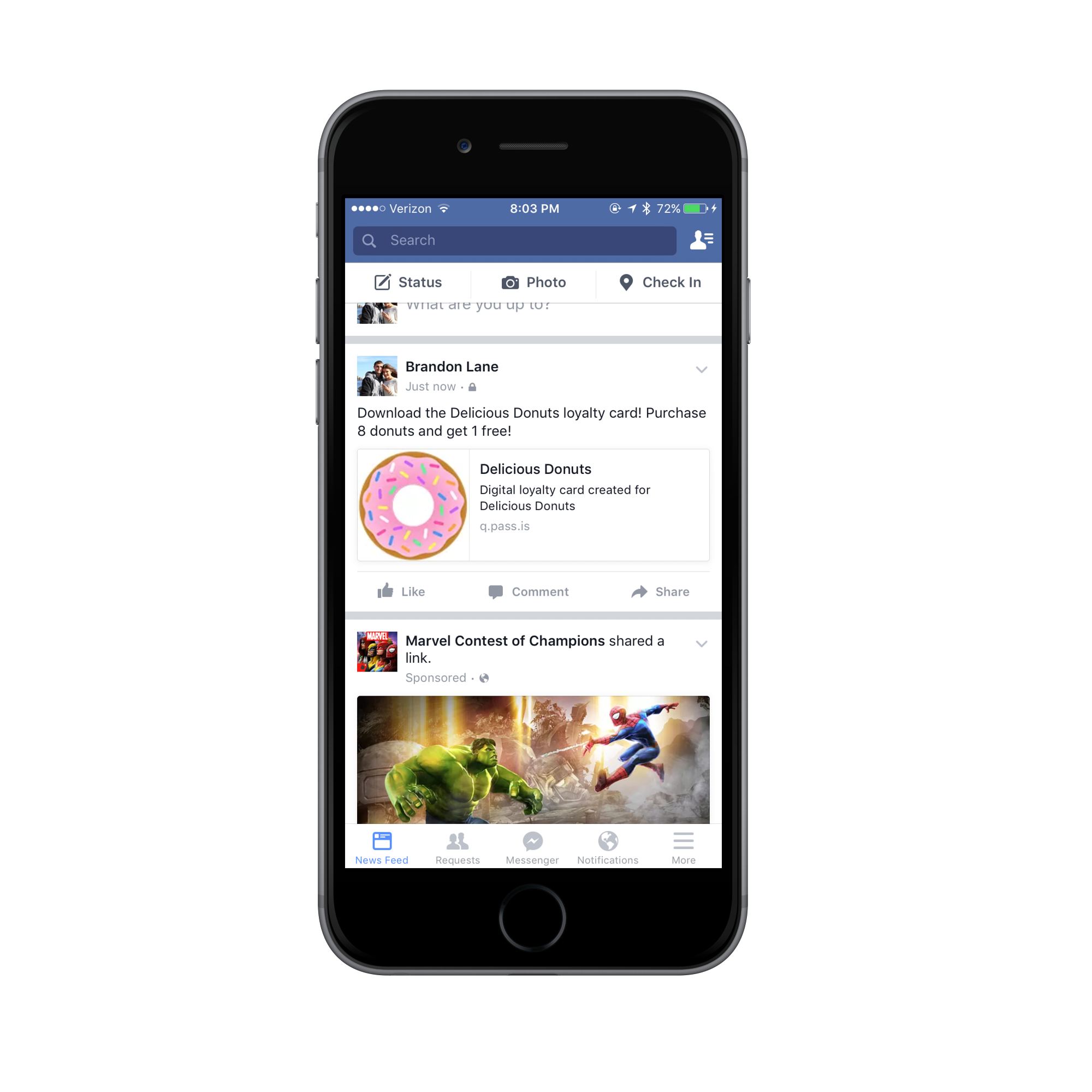This is an example of how a social media post could look. Once a user clicks on the link it would bring them to the landing page that allows them to add the mobile wallet content.