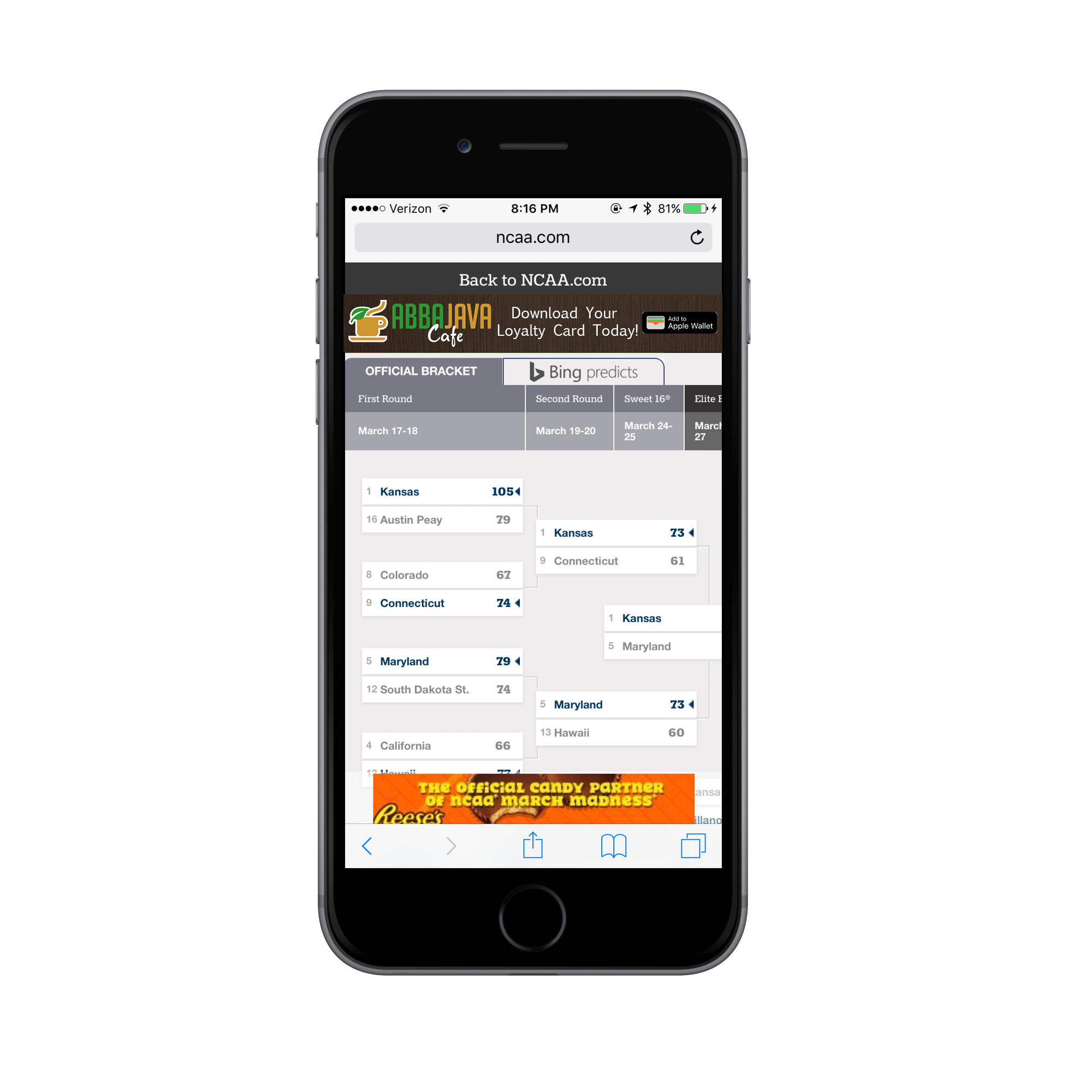 A banner ad like this one brings users directly to a landing page where they can download the mobile wallet content.