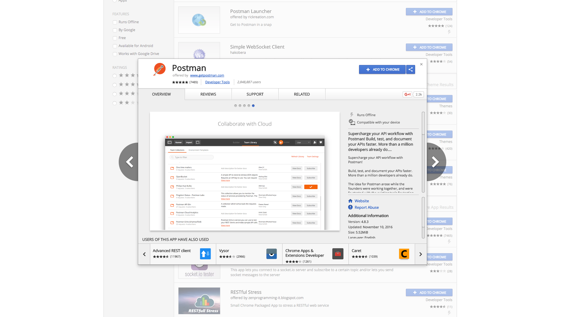 Postman Chrome Web Store