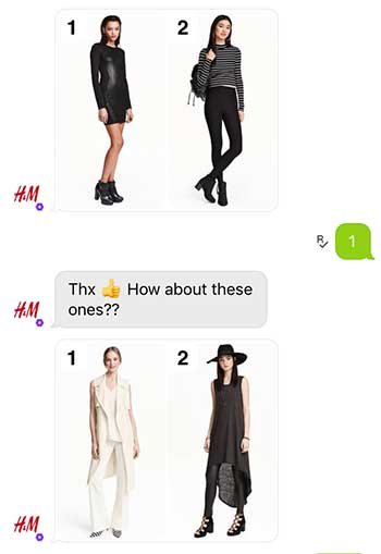 H&M chatbot in action