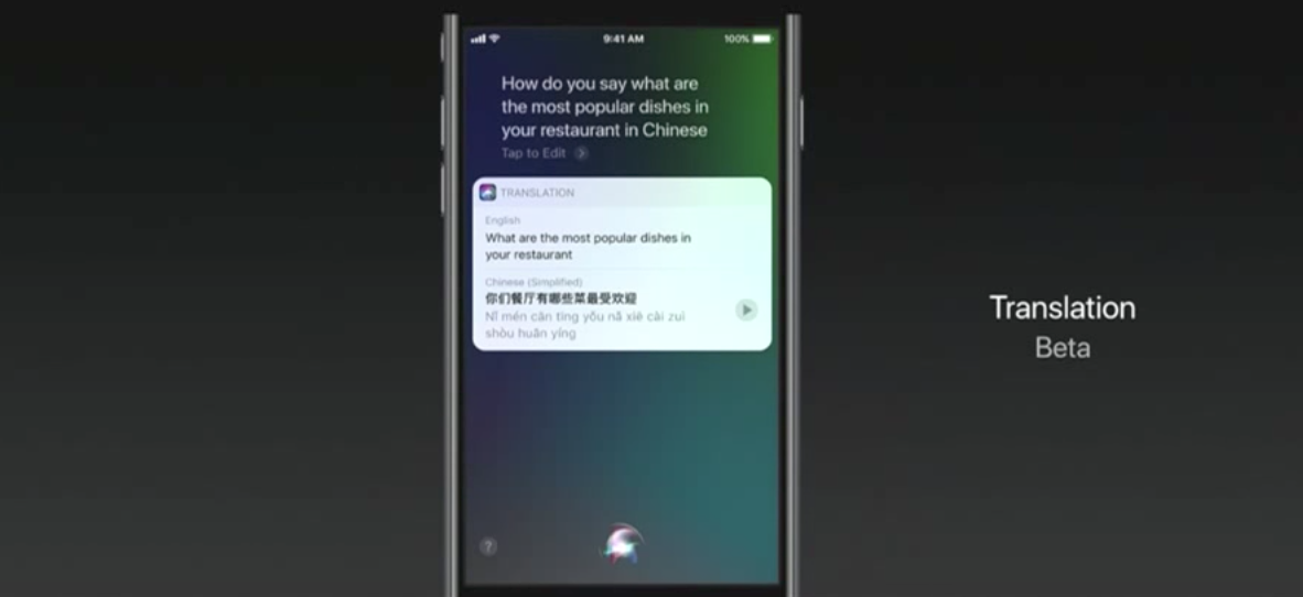 Siri live translator Apple