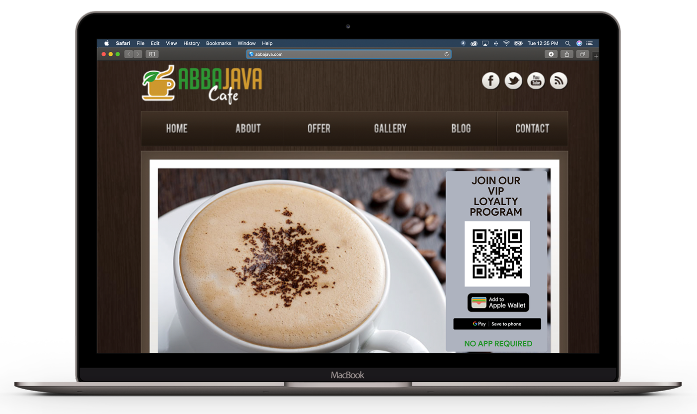 This is an example of promoting a loyalty card on a website homepage. When a user clicks the Add to Apple Wallet button, they are taken to a landing page that allows them to either scan a QR code if on a desktop or add straight to their mobile wallet if they're on a phone.