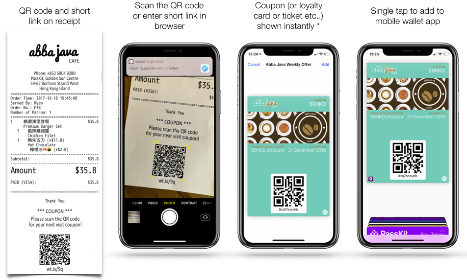 Using a QR code on a receipt is a great way to distribute offers and get your brand in your customers mobile wallet